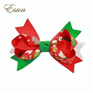 fancy middle size 4.5 inch party festival high quality hair bows clip for christmas