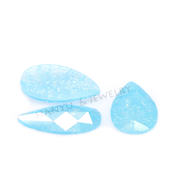 <strong>Pear</strong> cut aqua blue korean ice cubic <strong>zirconia</strong>