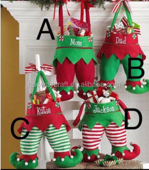 ready to ship stock christmas popular fabric candy gift bag elf stockings - Christmas Candy Bags