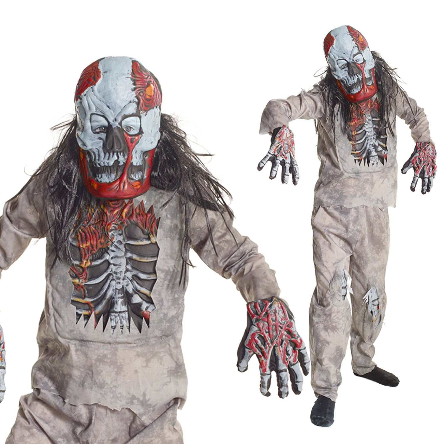 Boys Infected Zombie Skeleton Fancy Dress Costume - 4 Piece Quality Costume