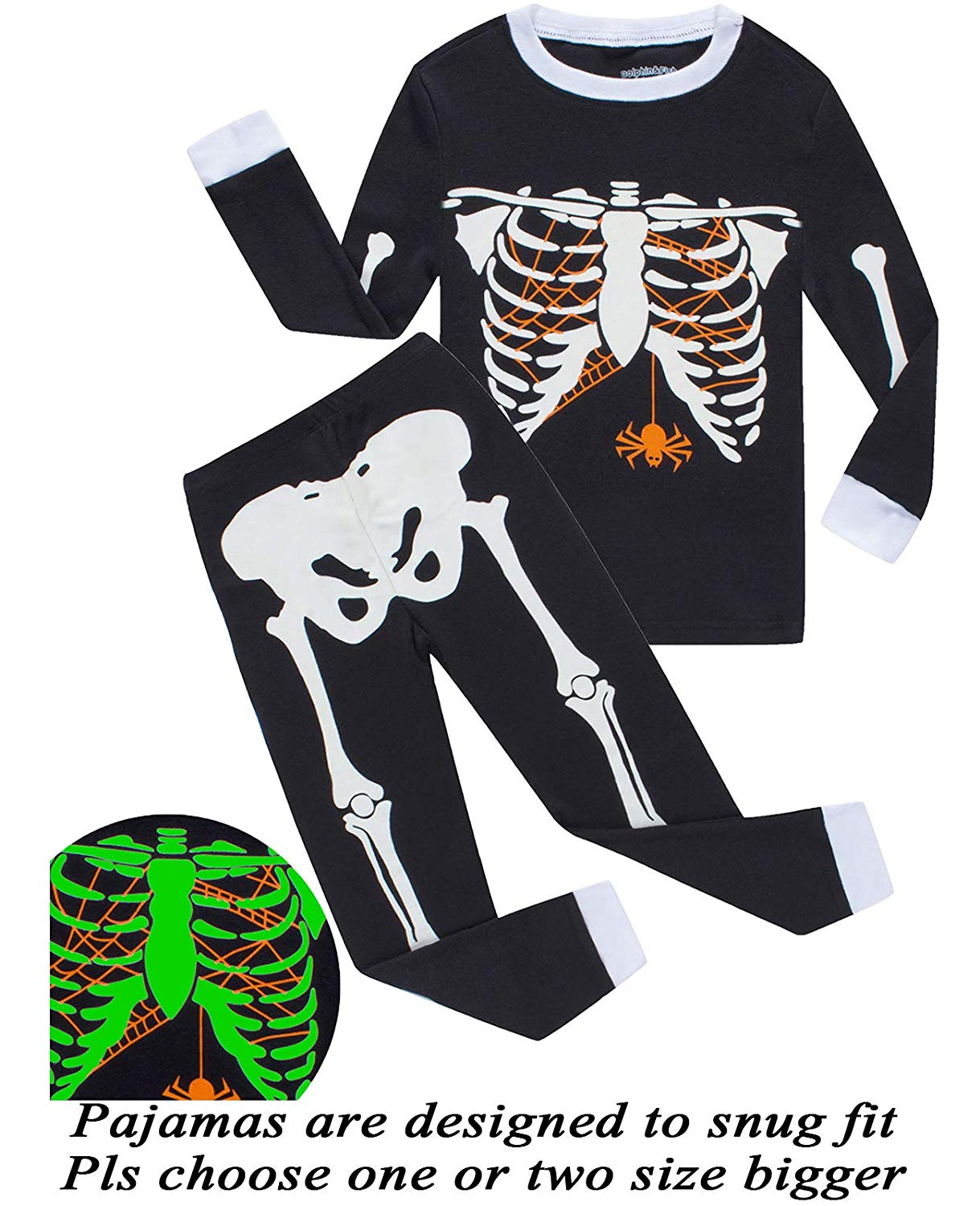a49574d8b49 Get Quotations · Dolphin Fish Boys Pajamas Skeleton Glow in The Dark  Halloween Girls Pajamas Toddler Pjs Kids Sleepwear