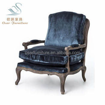 French Style Dark Blue Velvet Vintage Wooden Arm Chair With Removable Cushion View Vintage Velvet Chair Osar Furniture Product Details From Shanghai