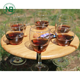 Bamboo Wood Wine Picnic Table, Snack Serving Table Tray wine glass rack