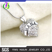 A51107 Yiwu Huilin Jewelry Top Selling Unique Handmade NANA heart alloy jewelry pendant necklace