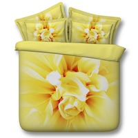 Soft Crean and Gold Flower Bud Hd 3d Digital Bedding Set
