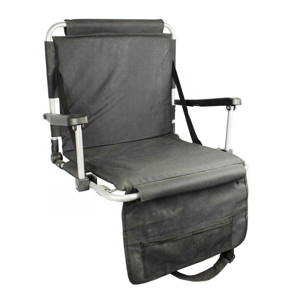 With padded cushion shoulder straps magazine pocket on the back wholesale stadium folding chair reclining seat for bleachers