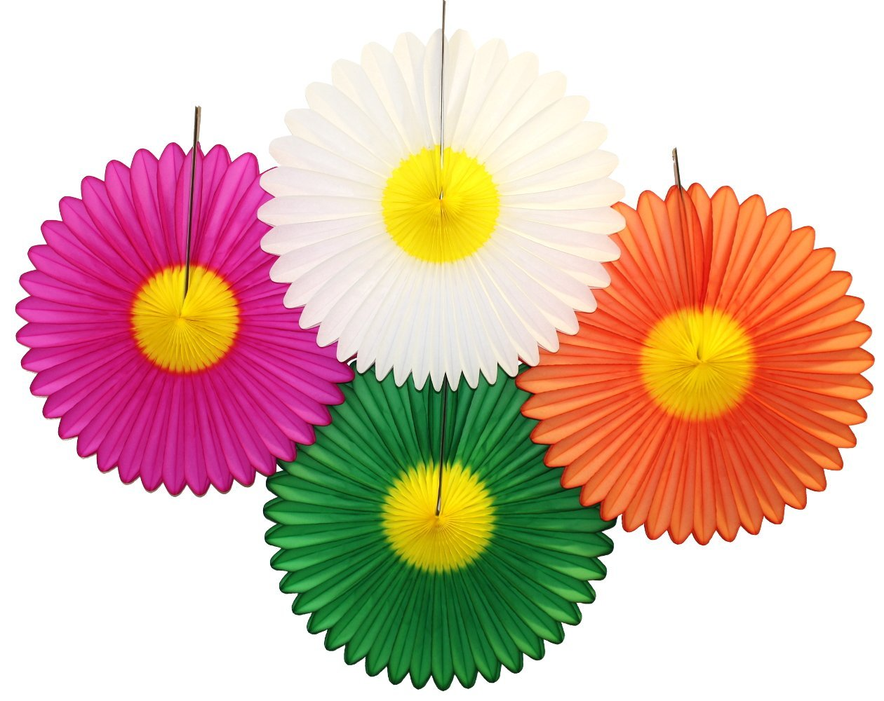 Buy 4 Assorted 20 Inch Tissue Paper Daisy Flower Fans In Cheap Price