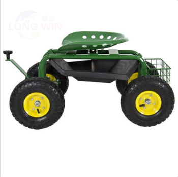 Tractor Style Rolling Steerable Garden Cart With Seat