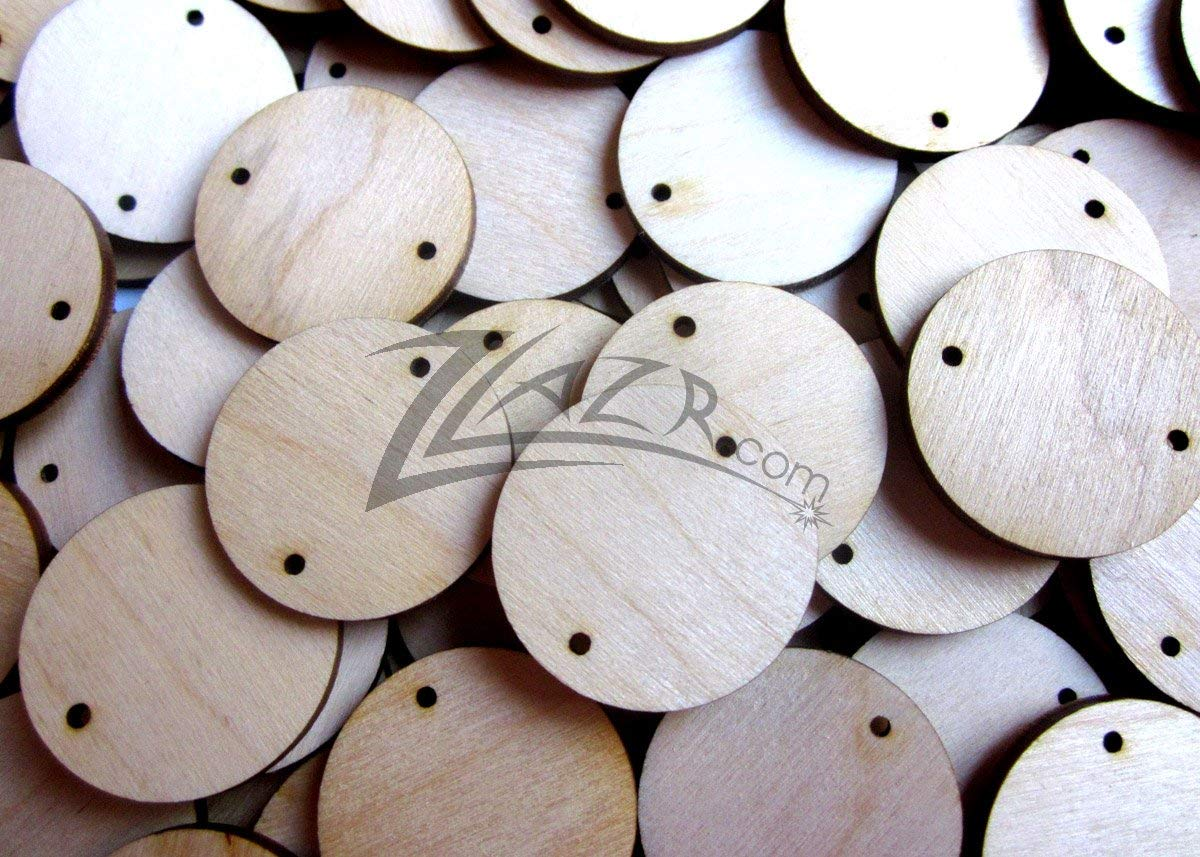 """ZLazr: 50 1.5"""" (1-1/2"""") X 1/8"""" Wooden Circles Family Birthday Craft Disc Two 2mm Hole Tags Unfinished Birch Wood Made in the USA!"""