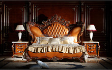 Full Solid Wood Antique Carving Bed With Genuine Leather, Pure American 5PCS Bedroom Furniture Set (MOQ=1 SET)