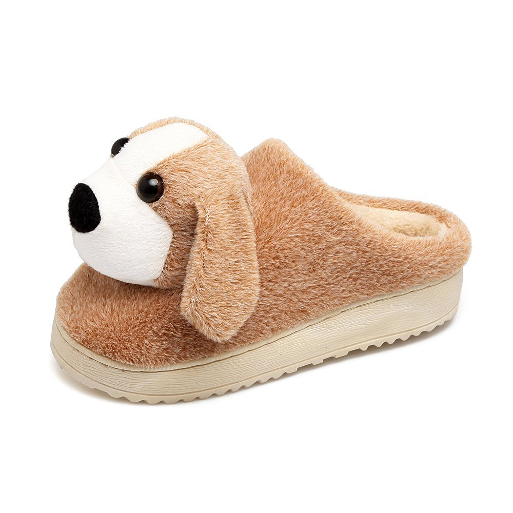 Aemember Winter Cotton Slippers, Female Animals, Semi Living Shoes, Indoor Bedroom Slippers, Warm Shoes,265 For Men (40, 41 Feet),Apricot