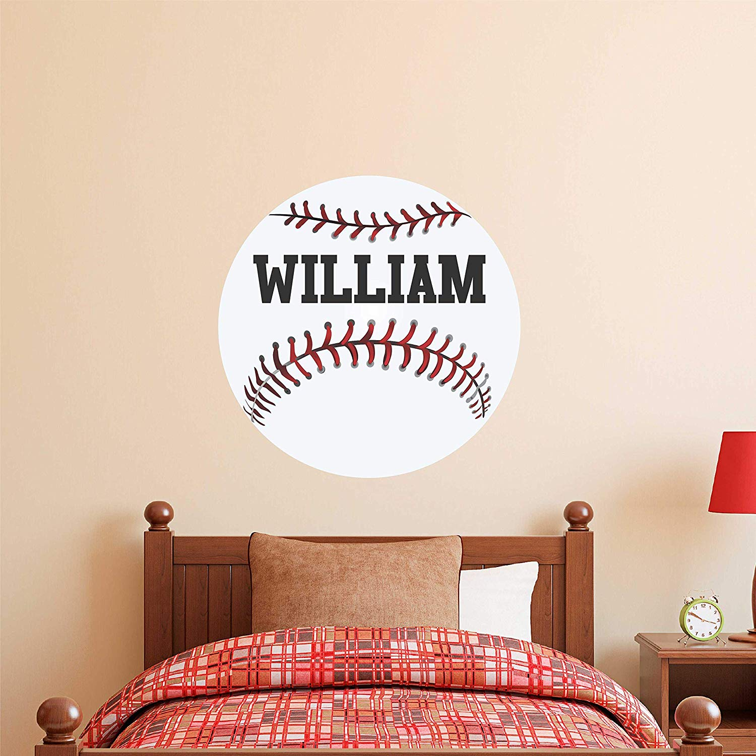 Baseball Custom Name Wall Decal - Boys Girls Personalized Name Baseball Sports Wall Sticker - Custom Name Sign - Custom Name Stencil Monogram - Boys Girls Room Wall Decor …