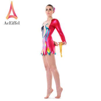 0fbb5cd69a7e42 OEM service shiny rhythmic pink dress foil rhinestone gymnastics leotards  designs for girls