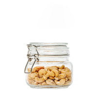 High quality square food vacuum safe glass storage jars with metal clip lid