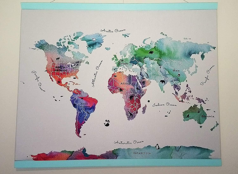 "Illustrated World Map 18""x27""(47.7cmx68.5), 27""x39"" (68.5cmx100cm) and 39""x54""(100cmx137cm) . Nursery watercolor painting - Fabric art print. Wall tapestry."