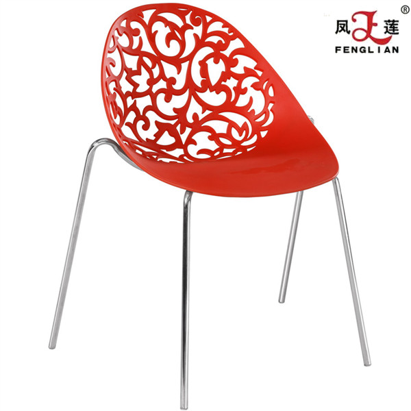 Modern Style White Polypropylene Wholesale Price PP Plastic Chair With metal legs