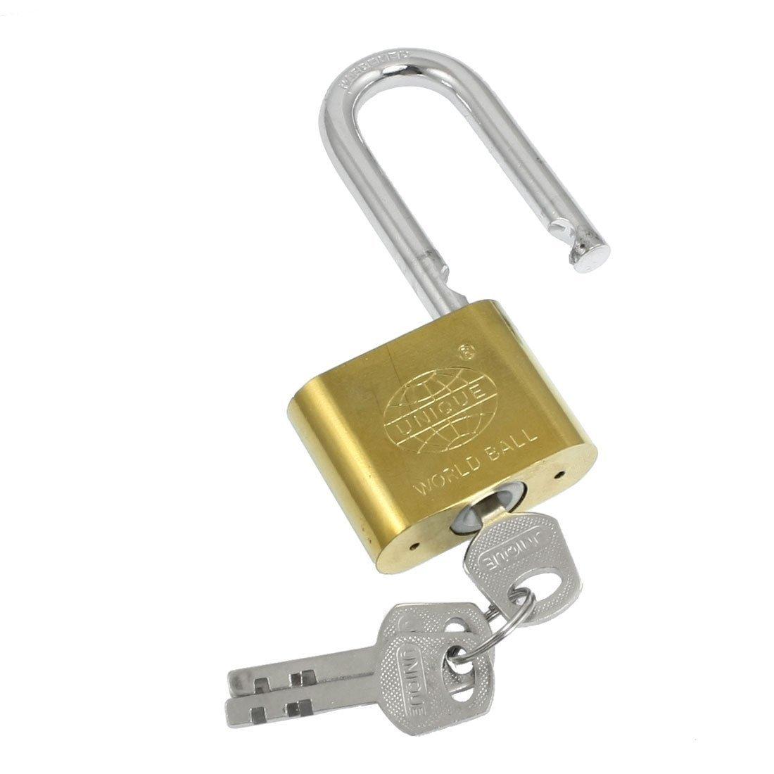 "uxcell 3.7"" High Cabinet Jewlery Box Brass 50mm Width Padlock Gold Tone w 3 Keys"