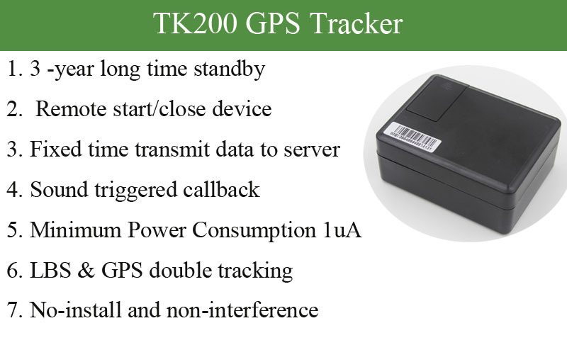 Long time standby hidden sound triggerred callback function gps tracker TK200