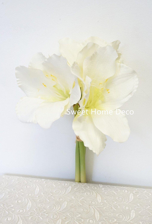 Buy sweet home deco 14 silk amaryllis artificial flower bouquet for sweet home deco 14 silk amaryllis artificial flower bouquet for weddinghome decorations izmirmasajfo