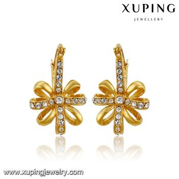 91539 Quality Fashion Jewelry 14k Gold Latest Design Earrings 5 Gram