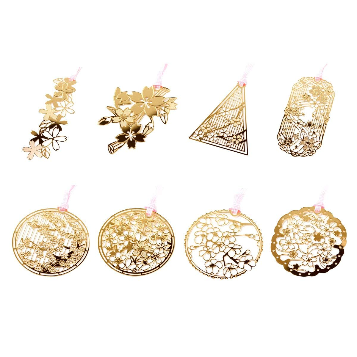 8pcs Mini Chinoiserie Brass Bookmark Hollow Paper Clip Bookmark Book Creative Kids Gift School Stationery