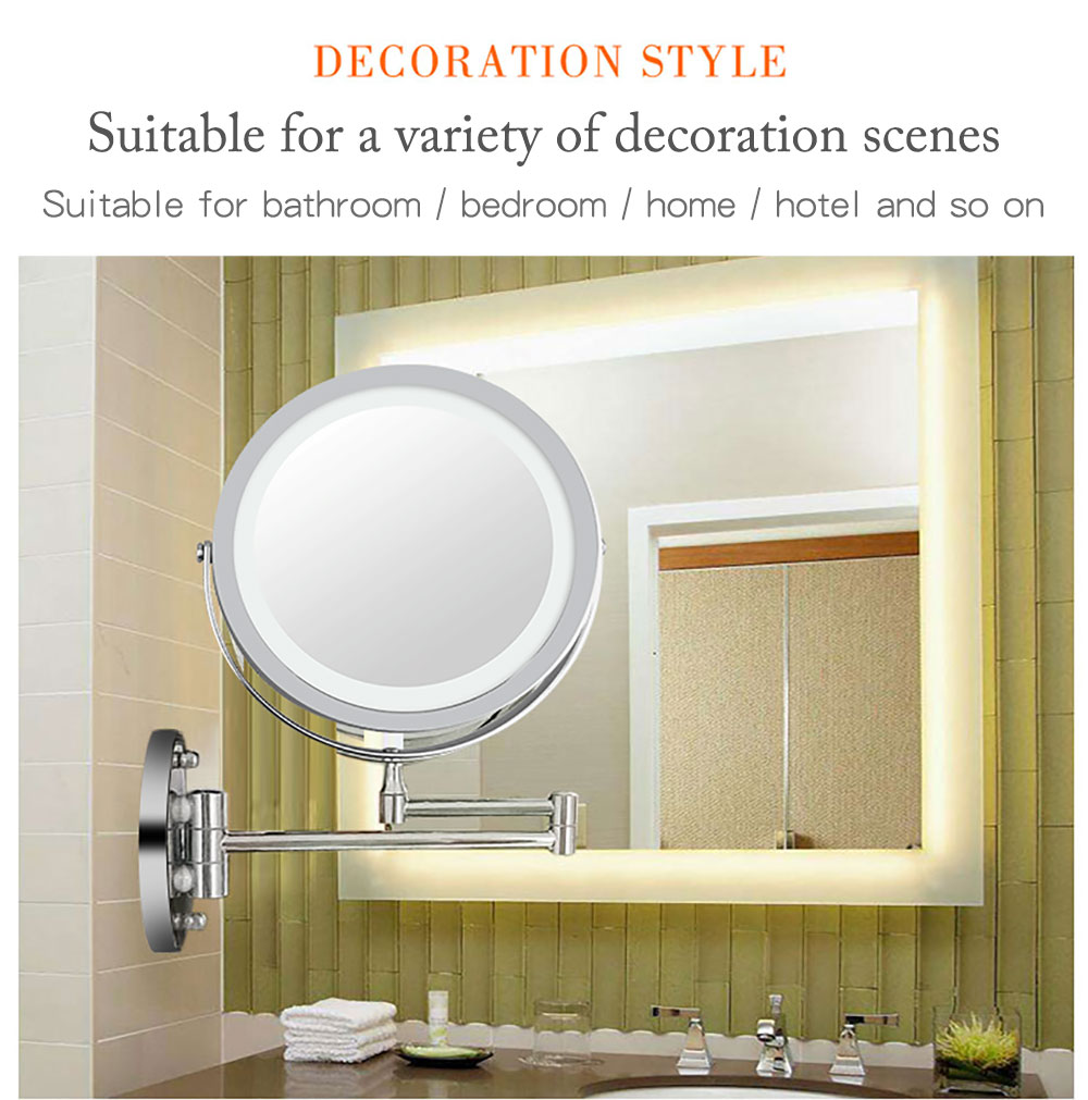 Wholesale Bathroom 10x Magnification Double Side LED Lighted Wall Mounted Makeup Mirror