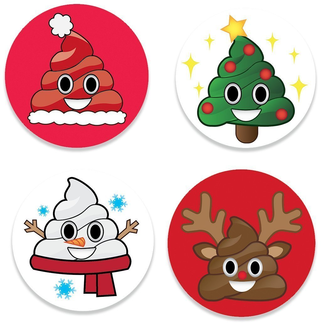 holiday emoji christmas poop button pins set of 4 different funny jolly emojis faces - Christmas Poop