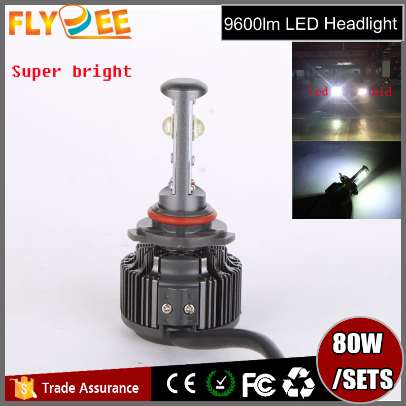 High quality assured car accessories super bright 40W Crees chip v16 turbo led headlight 80w 9600lm for cars lighting 9005 9006