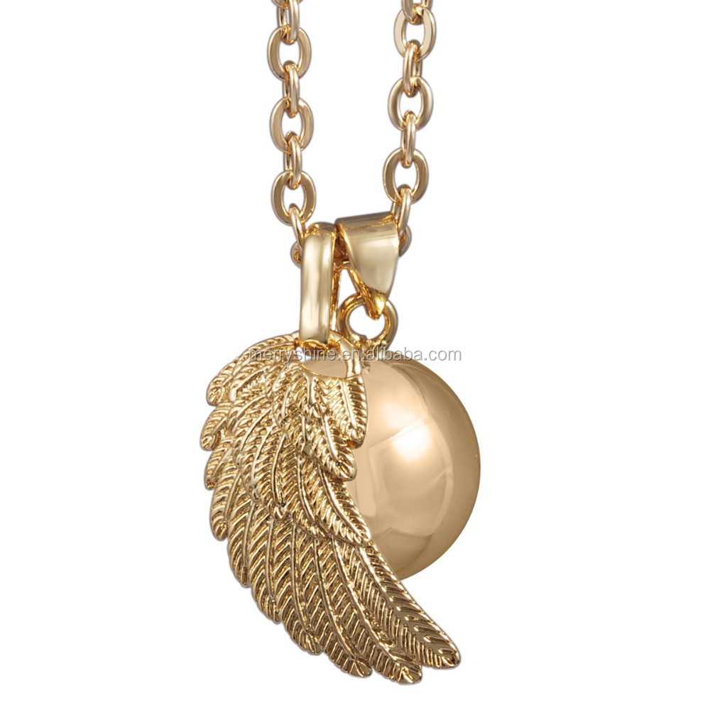 Silver/Gold/Rose Gold Plated Angel Wing Pendants Women and Baby Angel Wing Necklace Musical Sound Ball