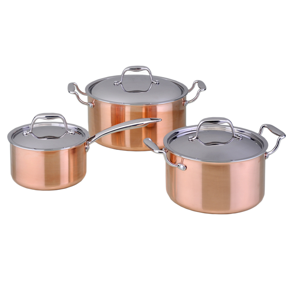 hot sell tri ply copper cookware set
