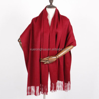 wine red solid color 100% cashmere shawl factory