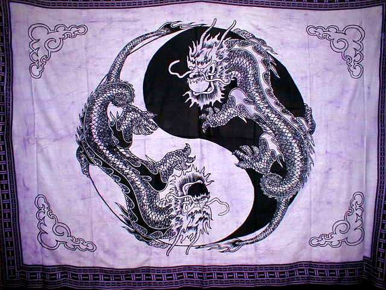 "Yin Yang Dragon Tapestry Cotton Bedspread 108/"" x 88/"" Full-Queen Blue"