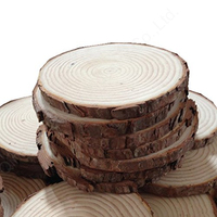 Natural wooden crafts tree ring wood slices with tree bark for painting and hang tag