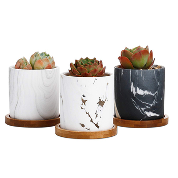 New Arrival Marble Design Ceramic Succulent Cactus Planter Flower Pots with Bamboo Tray for Home Decoration