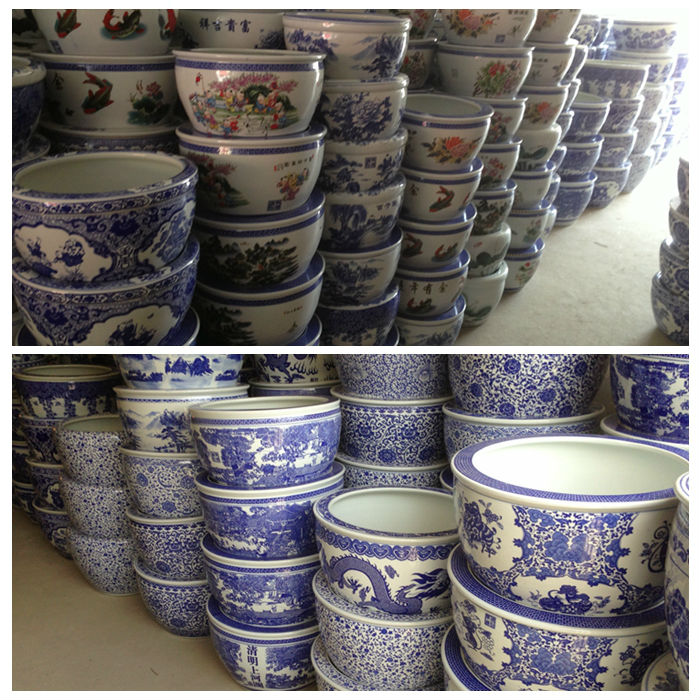 Big Size Chinese Blue And White Ceramic Tree Planters Pots