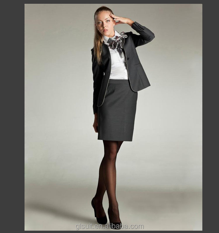2014 Lastest Dark Grey T/r Business Suit For Women Skirt - Buy ...