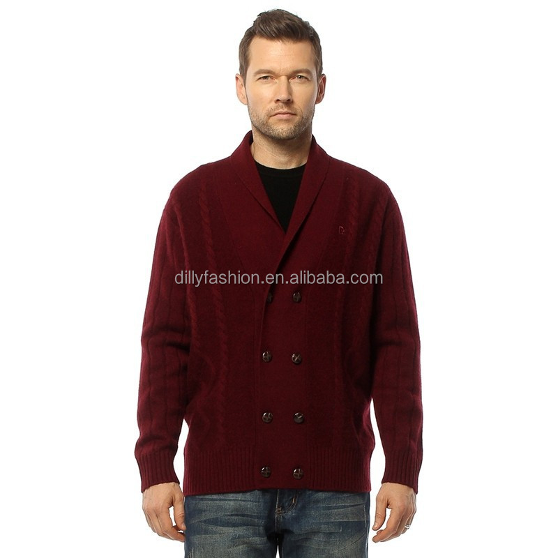 Fashion Burgundy Cable Knit Sweater Double Breasted Cardigan For Men
