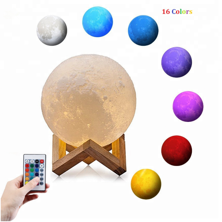 2018 3D printing creative novelty gift moon lamp USB LED night light 3d moon lamp manufacturer