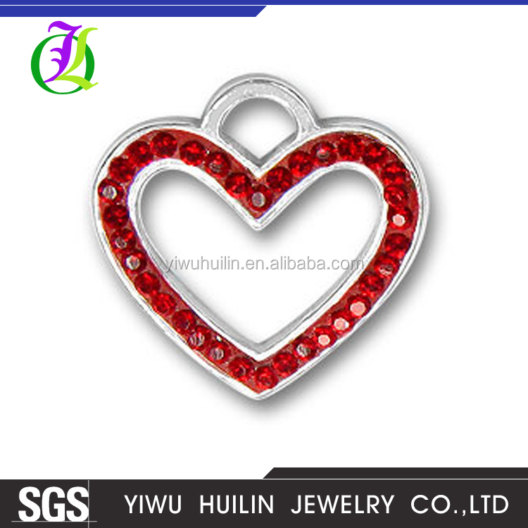 CN184160 Yiwu Huilin Jewelry Fashion red crystal enamel girlfriend hollow out heart pendant charm