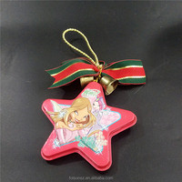 2019 Christmas promotional star shape metal tins with bell