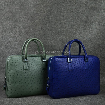 Real Ostrich Skin Men Bags Luxury Leather Office Doent Mens Messenger Bag For