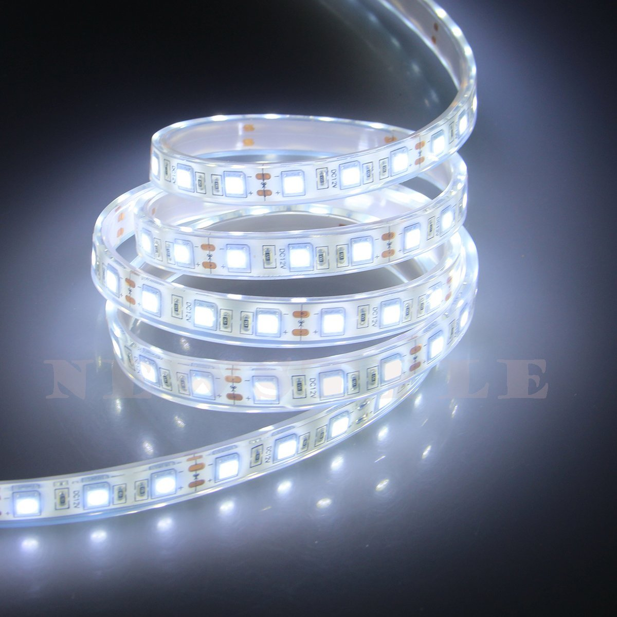 NEWSTYLE IP68 Fully Submersible Waterproof LED Flexible Strip - 16.4 Feet 5M 12 Volt Flexible LED Strip Light - SMD5050 300LEDs - Cool White