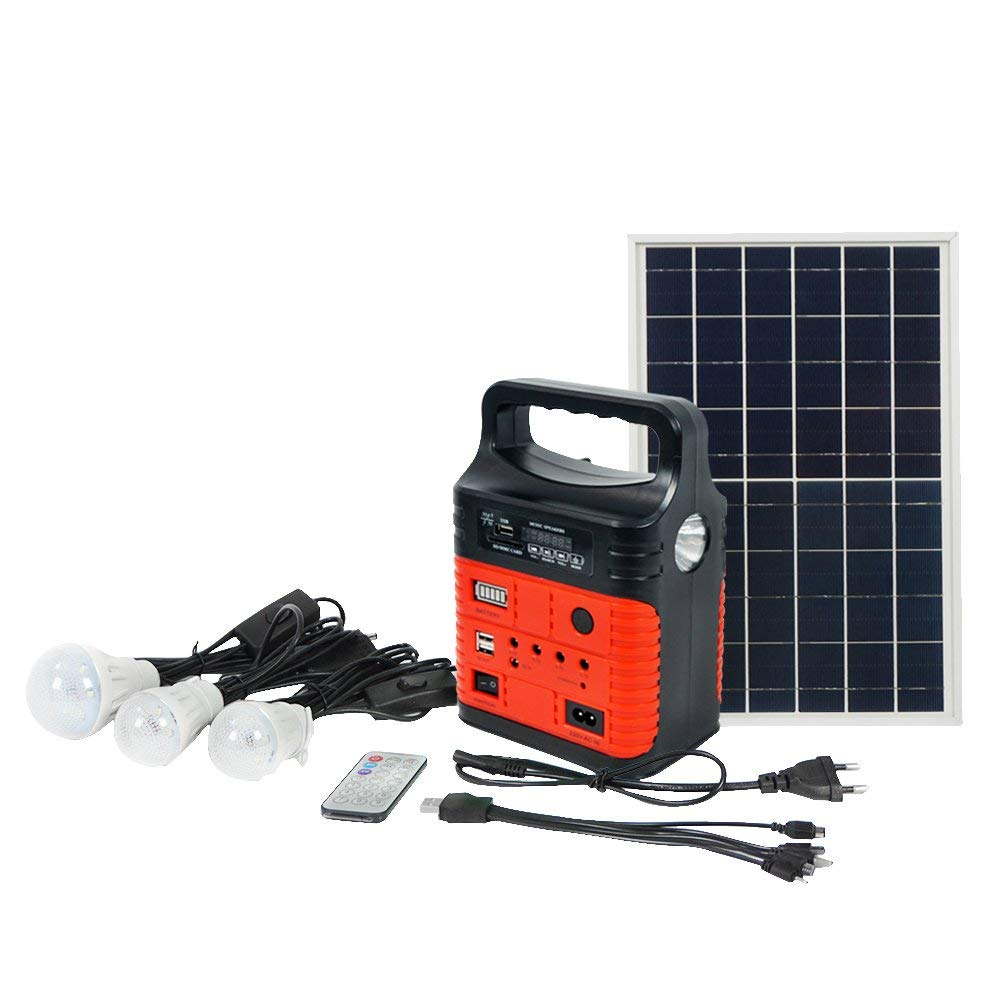 ECO-WORTHY 10W Portable Solar Generator Kit, Power Inverter, Solar Generator System for Home & Camping, 7500mAh Rechargeable Battery Pack UPS Power Supply (Red)