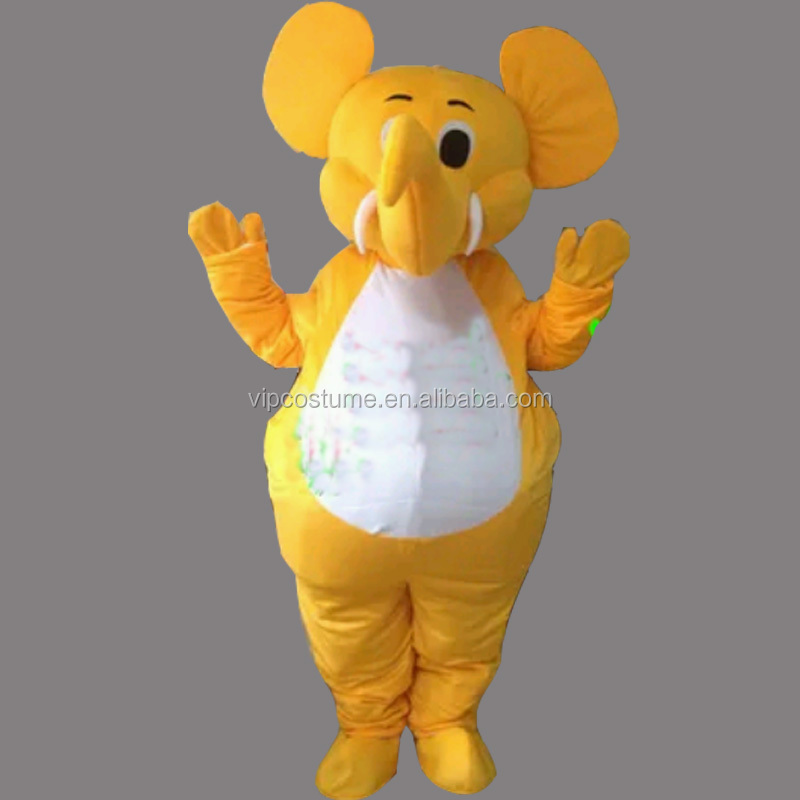 Adulto Amarelo Bonito do Elefante Animal Novidade Fancy Dress Traje Da Mascote