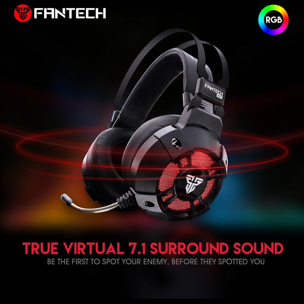 Fantech HG11 7.1 Virtual surround sound USB foldable LED logo light headset PC gaming headset with removable mic