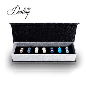 Destiny Jewellery 7 day pearl earring with gift box fashion earring set for present made with crystal from swarovski