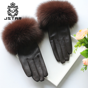 2018 NEW women's leather lambskin winter warm soft fox fur cuffs gloves/ mittens