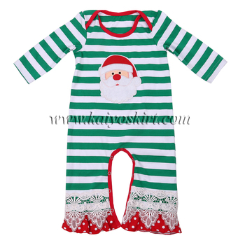 18cfc6b96edf 2017 fall winter white and green striped knitted baby clothes Christmas  romper santa baby girl onesie