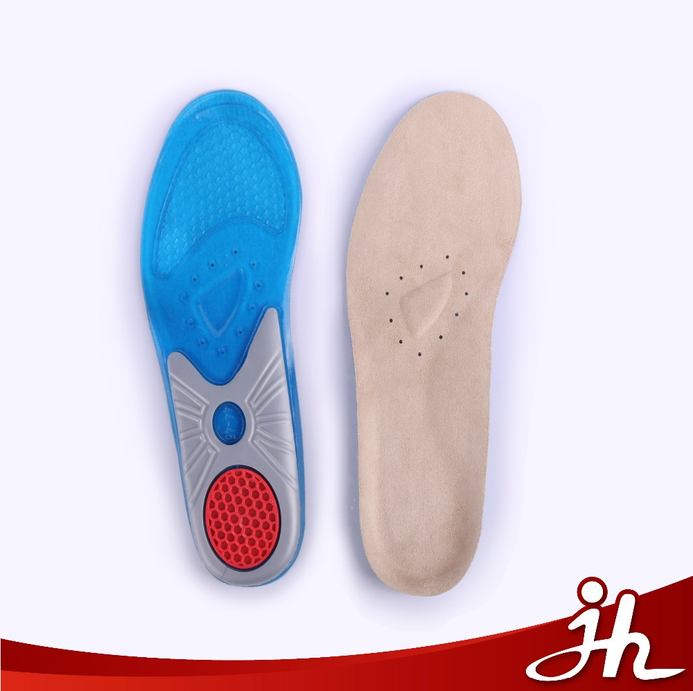 JHT-008 new arrival high quality foot care shock absorption 3 colors sports plantar fasciitis pain relief shoe insole silicone