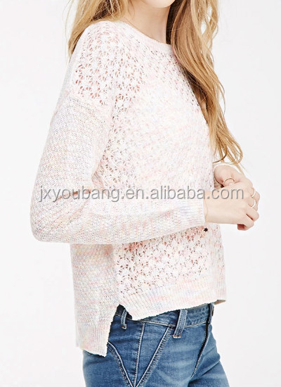 Women Sweater Pink Hollow Out Wool Handmade Sweater Design For ...